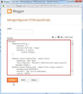 Cara Membuat Widget Email Subscribe Di Blog Terbaru