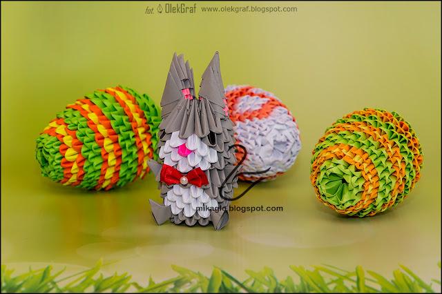 403. Świątecznie / 3d origami bunny and easter eggs