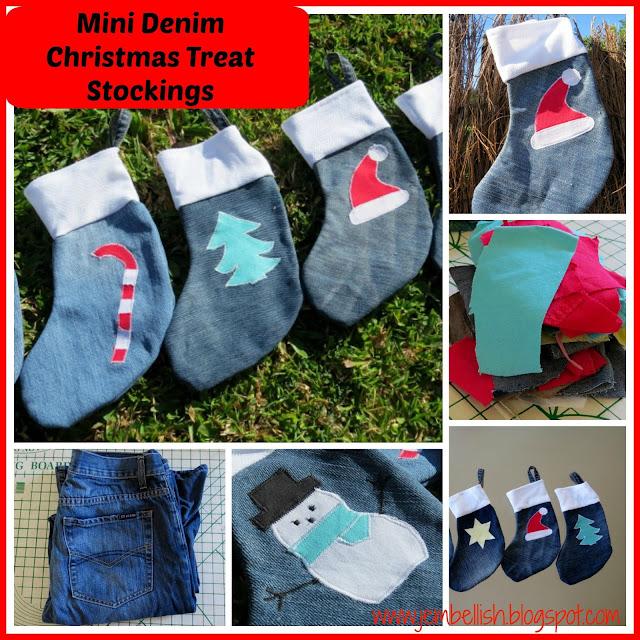 Mini Denim Christmas Stockings