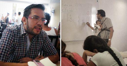 Foto de maestro se vuelve viral cargando bebé de alumna