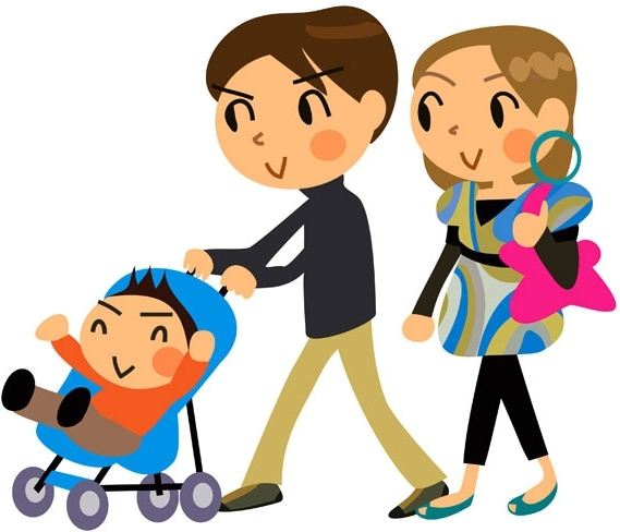 Cartoon a family of three vector Free Download Vector