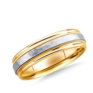 https://www.b2cjewels.com/men-gold-bands/grst0224/14k-two-toned-6mm-comfort-fit-hammered-finished-with-milgrain-carved-design-band