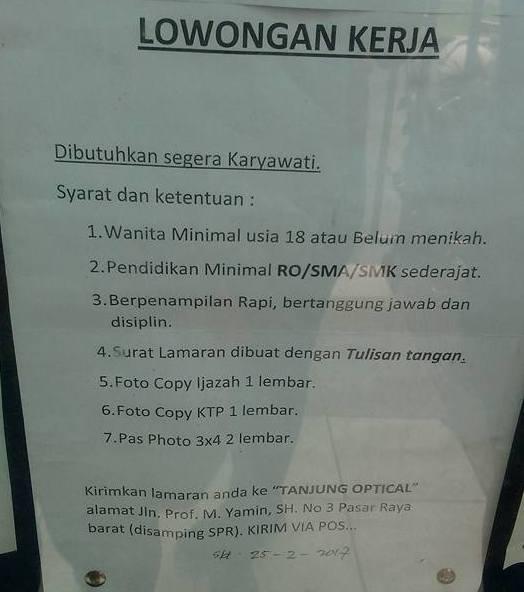 Lowongan Kerja di Padang – Tanjung Optical – Karyawati (Closed 25 – 2 – 2017)