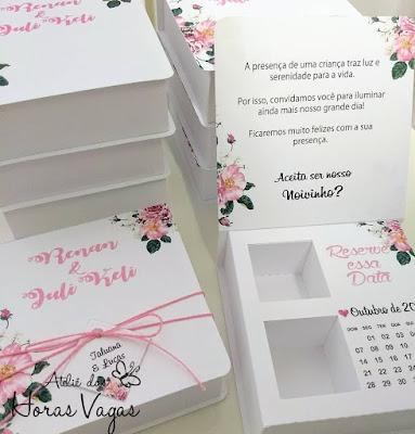 convite especial artesanal personalizado para padrinhos madrinhas daminhas pajens caixinha de bombom ferrero estampa floral rosa rosê casamento wedding noivas