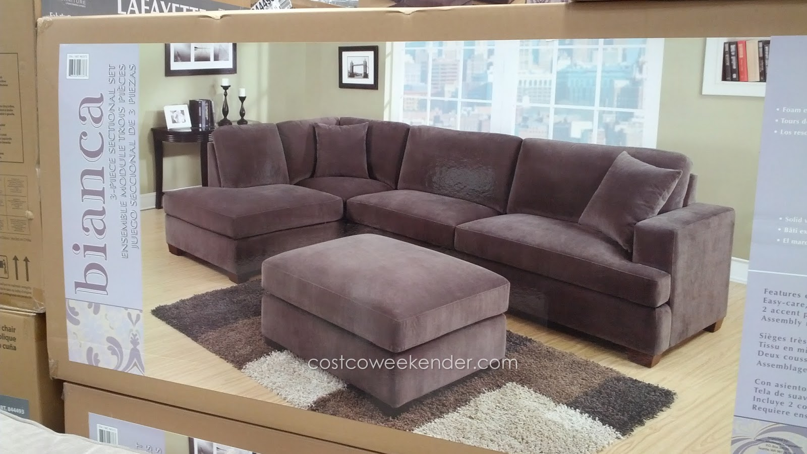 bianca sectional sofa costco baseball glove chair emerald home furnishings 3 piece set