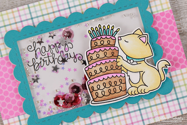 Happy Birthday Shaker Card by Juliana Michaels featuring Newton's Nook Designs Newton Loves Cake