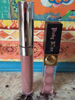 colourpop cosmetics lipstick next to pinkyrose cosmetic lipstick