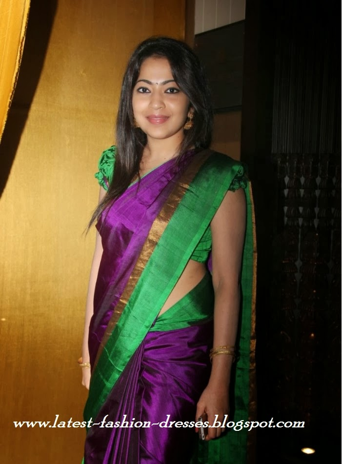 PURPLE WITH GREEN PLAIN SIMPLE SILK SAREE