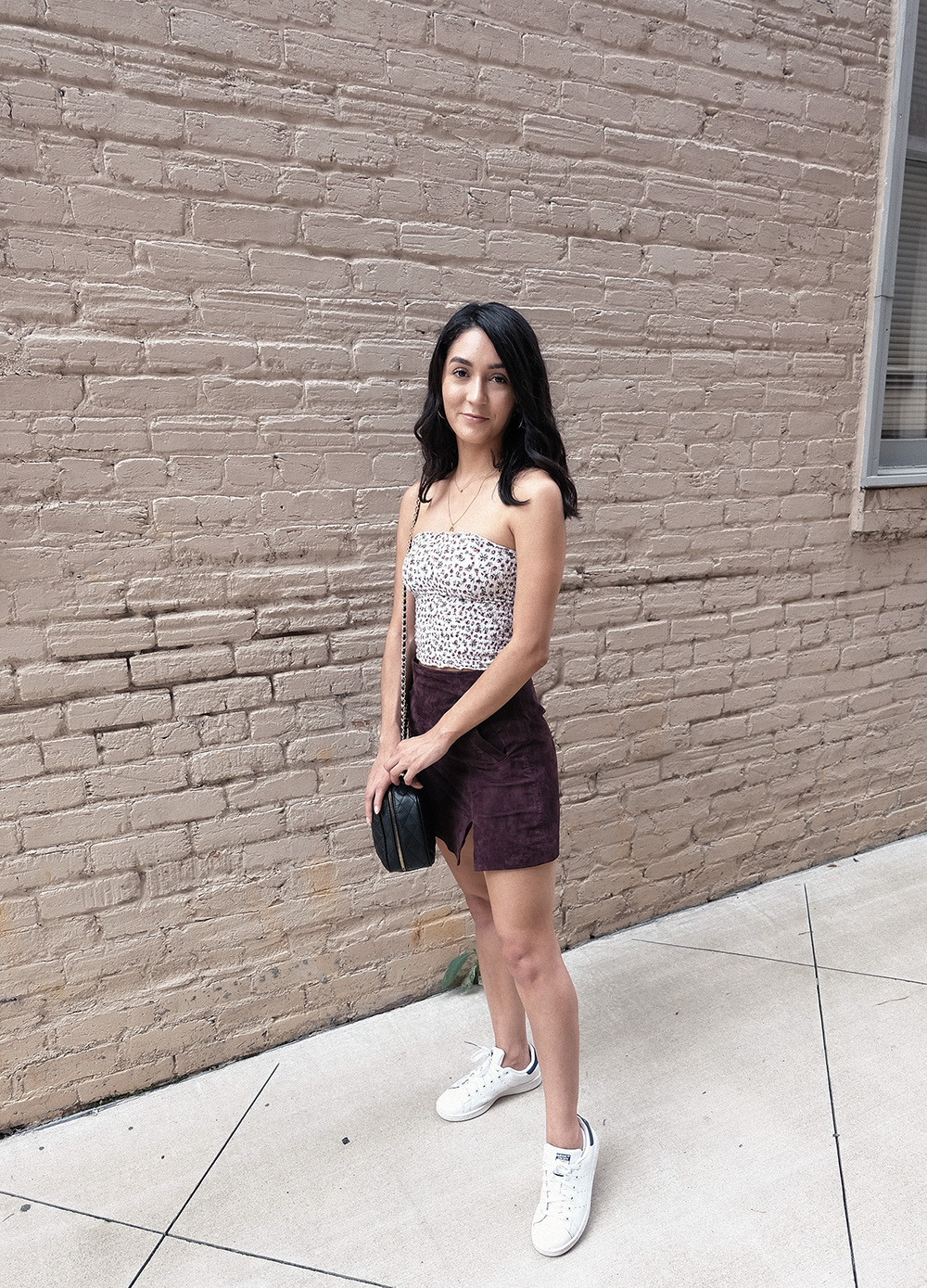 blanknyc suede skirt, smocked tube top, adidas stan smith, easy casual outfits
