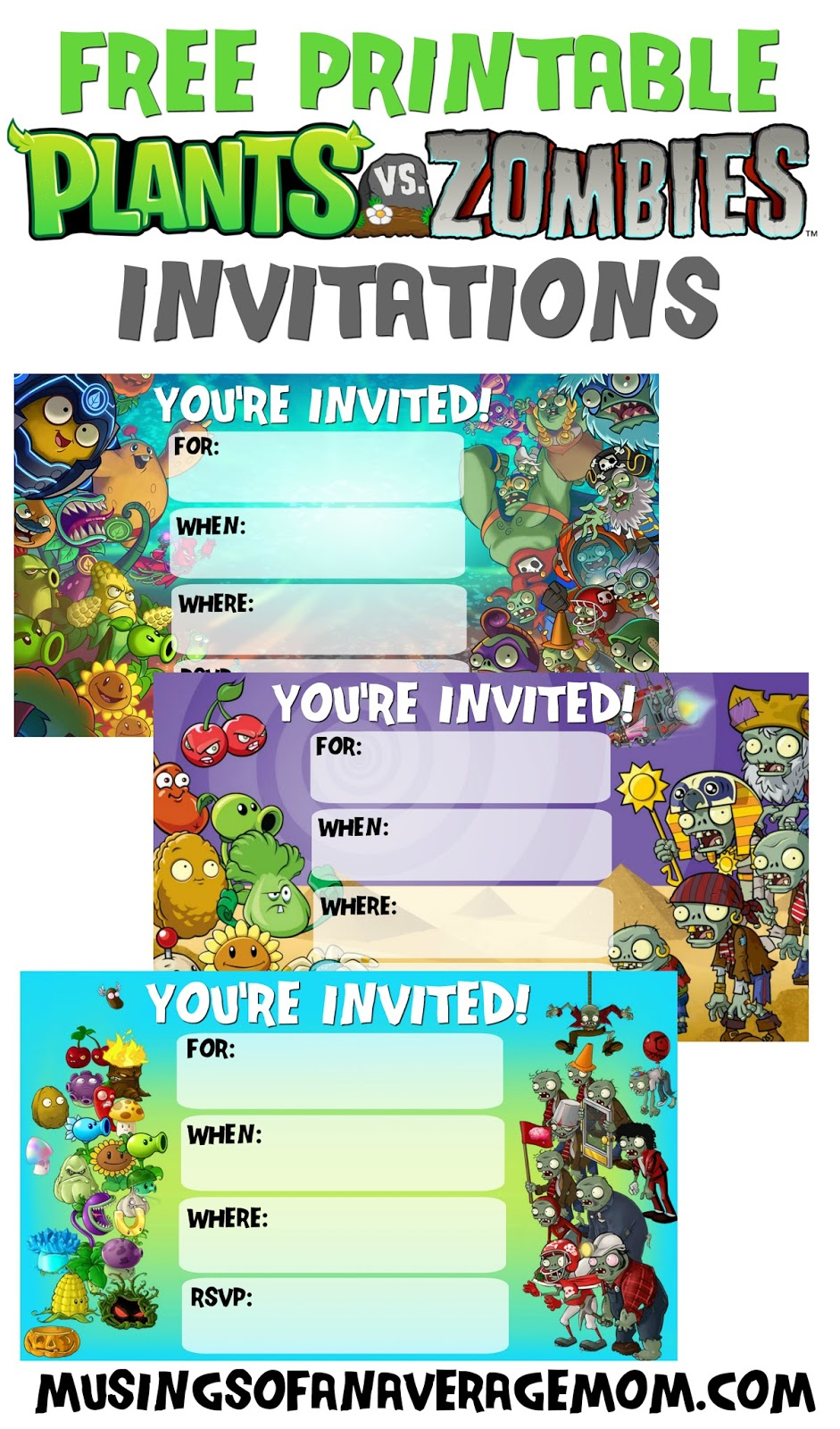 Musings Of An Average Mom Plants Vs Zombies Invitations