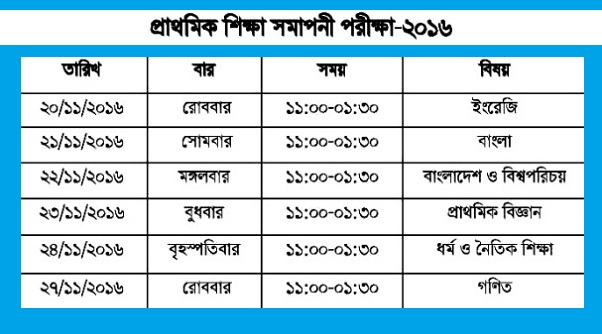 PSC Exam Routine 2016