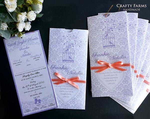 wedding card malaysia crafty farms handmade lavendar peach