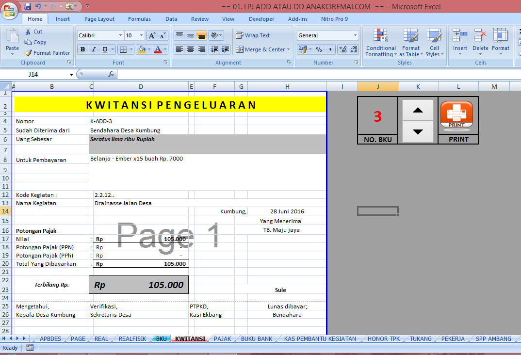 Format Laporan Buku Kas Umum (BKU) dan Kwitansi Dana Desa