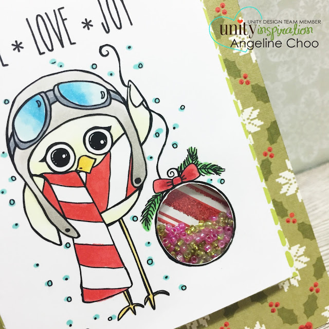 ScrappyScrappy: Big Blog Hop + [NEW VIDEOS] with Unity Stamp - Christmas card Partial Shaker Card #scrappyscrappy #unitystampco #card #cardmaking #christmas #holiday #papercraft #shakercard #dcwv #glitter #copic #stamp #stamping