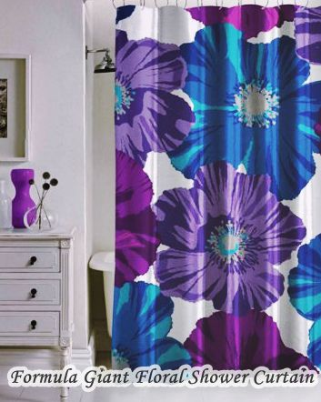 Giant Floral Walmart Bathroom Shower Curtains