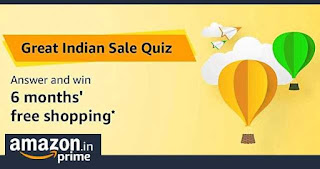 Amazon Great Indian Sale Quiz Answers - Win 6 month's free shopping