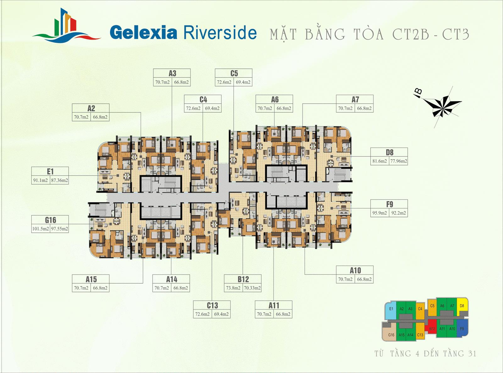 Mặt bằng điển hình tòa CT2B và CT3 - Gelexia Riverside