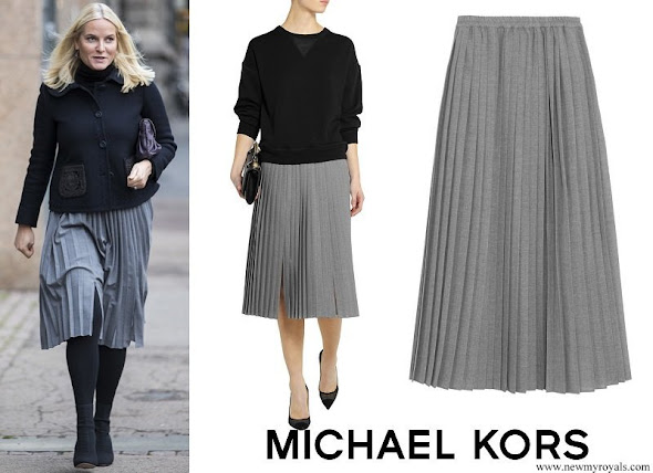 Crown Princess Mette Marit wore Michael Kors Pleated wool crepe midi skirt