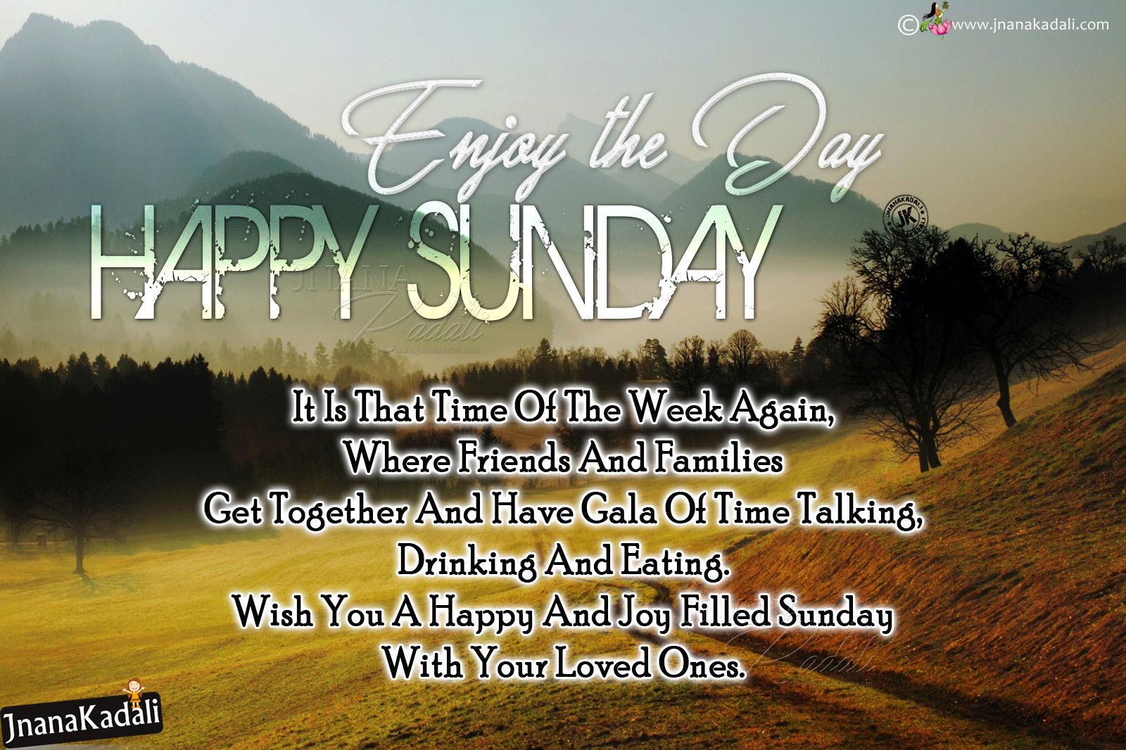 Happy Sunday Joyful Quotes With Misty Morning Hd Wallpaprs