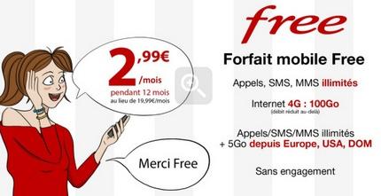 Vente privée Free Mobile : forfait illimité à 2.99€ à 100 Go