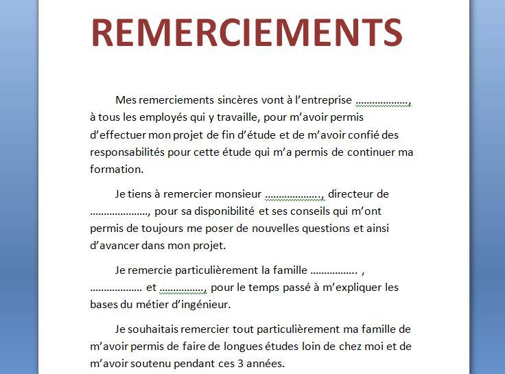 10 exemples remerciement PFE, mémoire ou rapport de stage ...