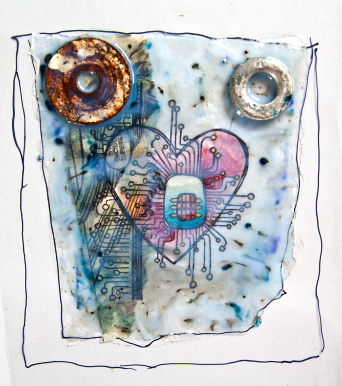 Just after pouring the medium for the PaperArtsy Found Object Gel Skin by Kim Dellow
