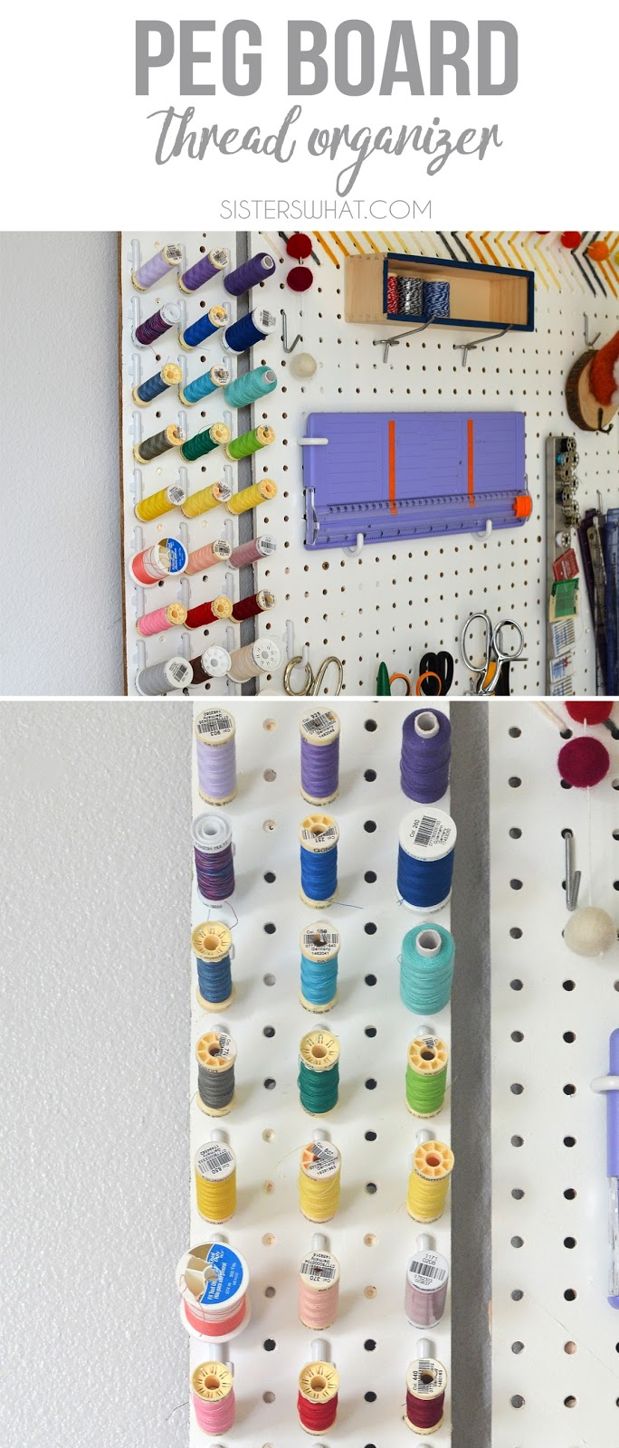 a fun and efficient way to organize thread using a pegboard in craft room