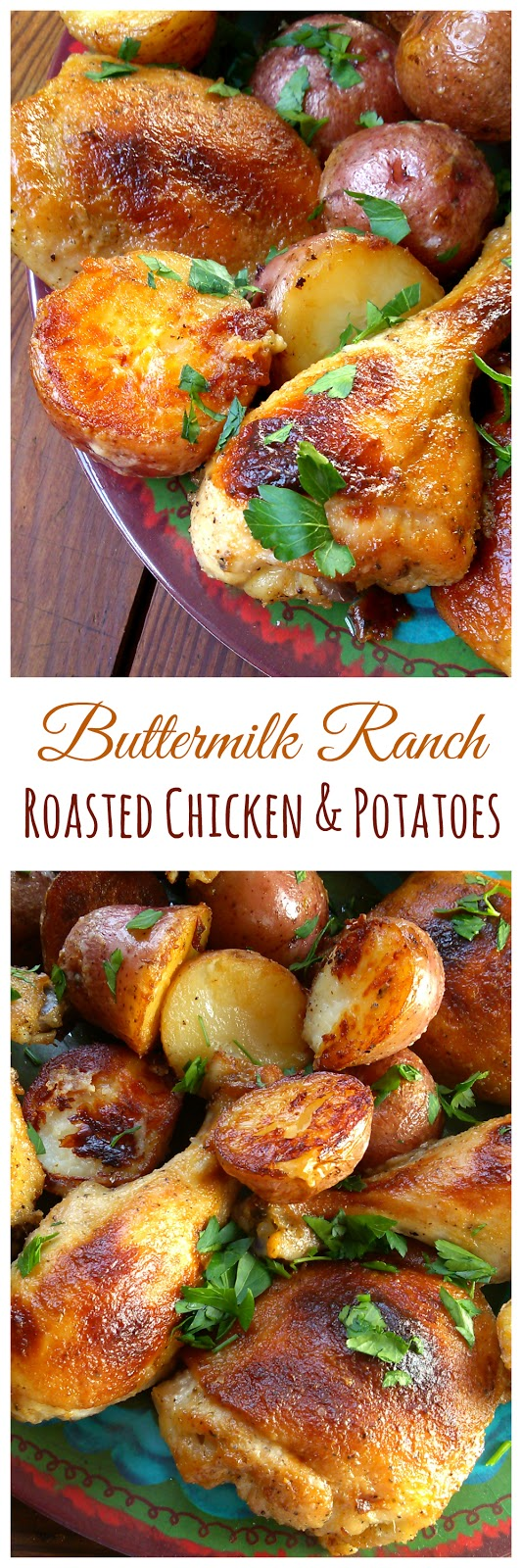 Buttermilk Ranch Roasted Chicken with Potatoes (much like Million Dollar Chicken). This whole meal cooks in one pan!