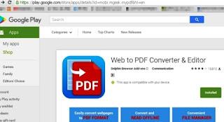 add ons save to pdf pada web browser