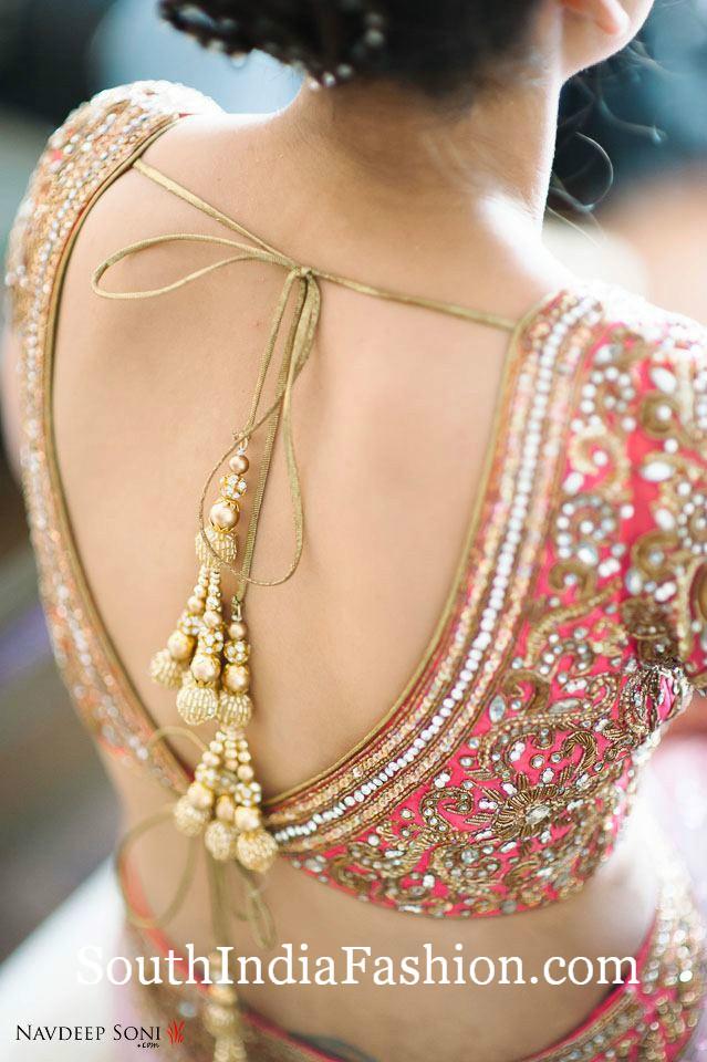 Deep V Neck Tie Back Saree Blouse Designs South India Fashion