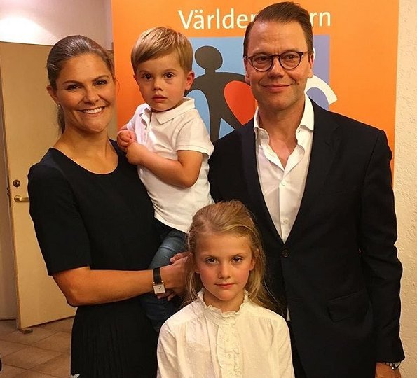 Crown Princess Victoria wore H&M skirt from H&M 2017 Studio collection. Princess Estelle and singer Perla Bjurenstedt