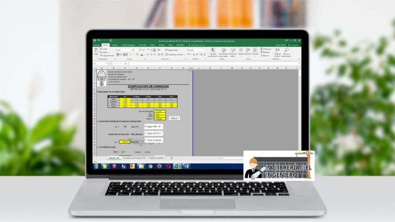 Cálculo, Diseño de Mezcla y Dosificación de Hormigón - Excel