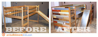 before and after boys bedroom makeover loft bed and slide