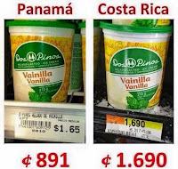 comparativa precios helados dos pinos entre panamá y costa rica