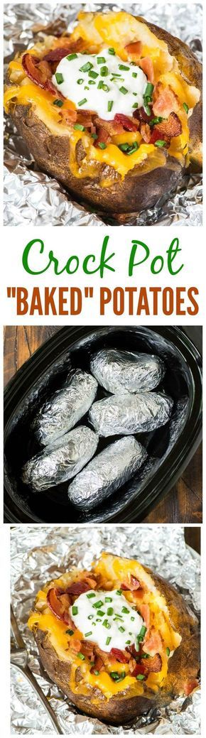 Crock Pot Baked Potatoes—how to bake potatoes in your slow cooker. Easy method with no cleanup. Perfect for weeknight dinners or to feed a crowd.