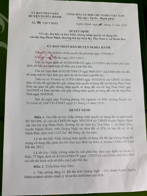 Quyết định thu hồi đất đã cấp cho ông Phan Ninh của UBND huyện Nghĩa Hành