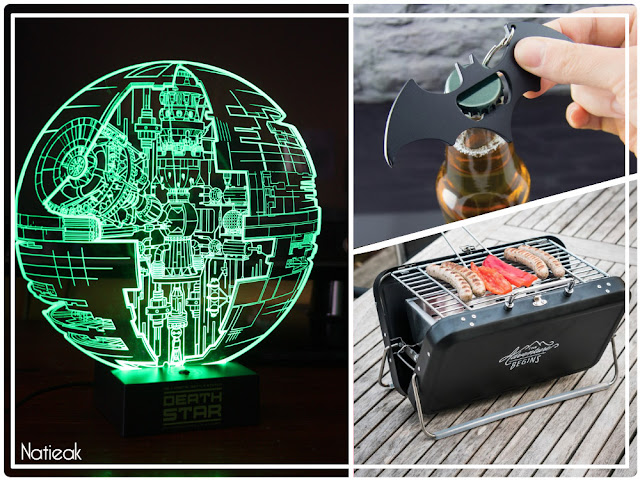 lampe Star Wars,valise barbecue  et porte clef Batman