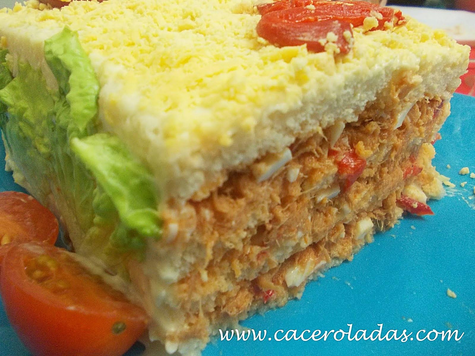 Pastel frio de atn con pan de molde CACEROLADAS