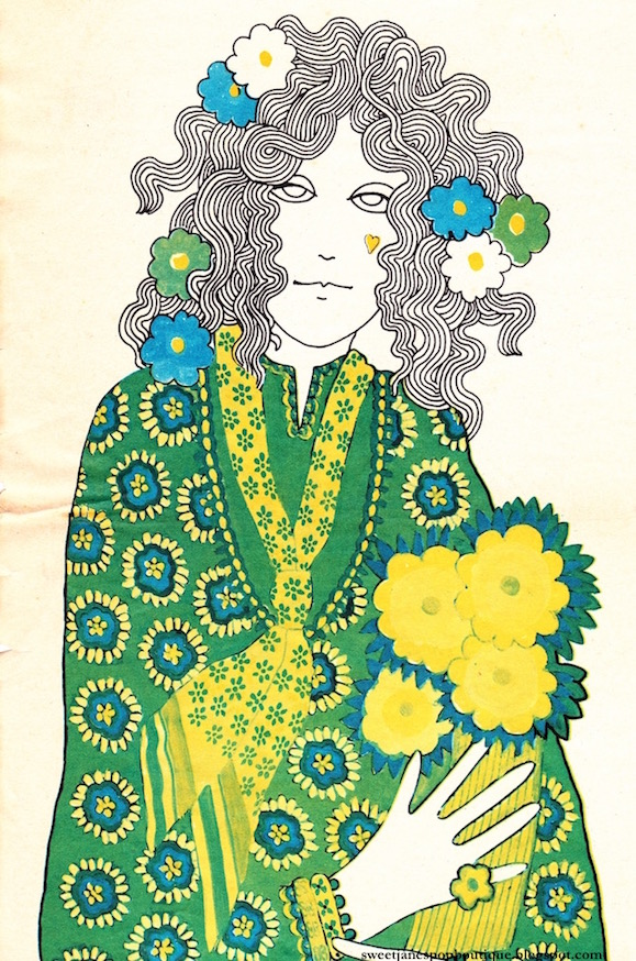 hippie fashion illustration 1960s