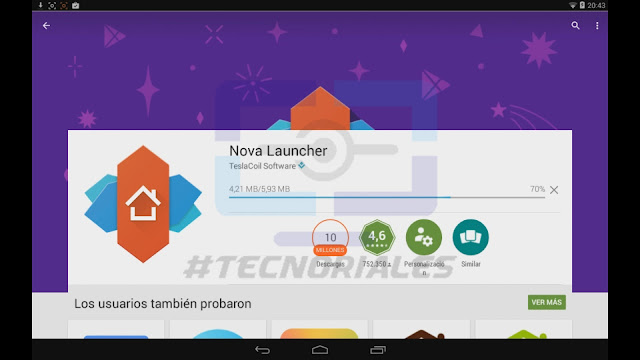 Descargando Nova Launcher en la tablet canaima