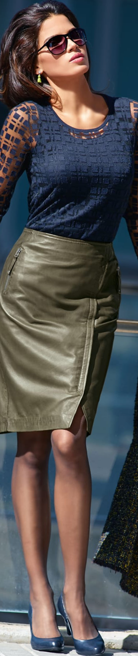 Madeleine Leather Skirt in Khaki