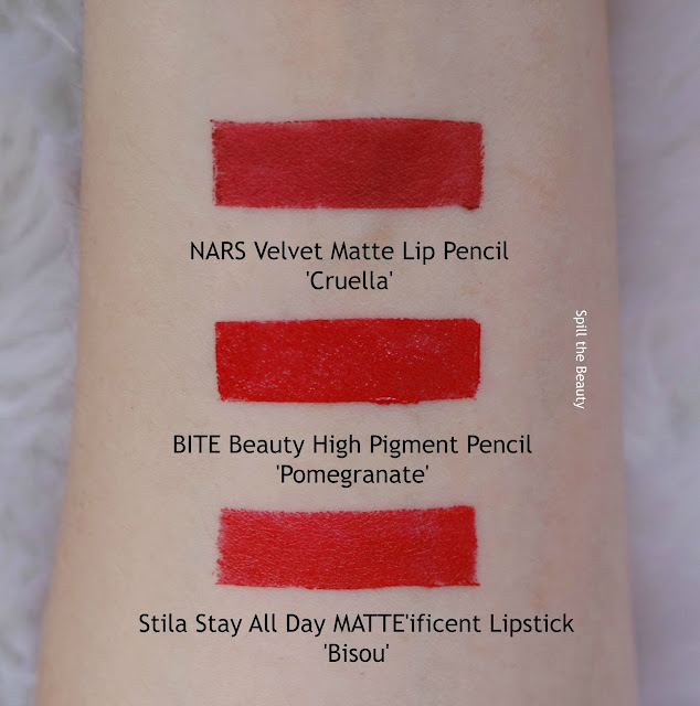 lip swatch bite beauty high pigment pencil pomegranate comparison dupe nars stila