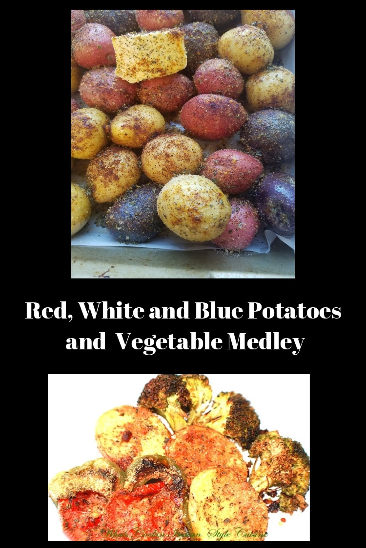 this is a recipe for any and all vegetables roasted in the oven on this dish is zucchini, peppers, carrots, potatoes red white and blue potatoes