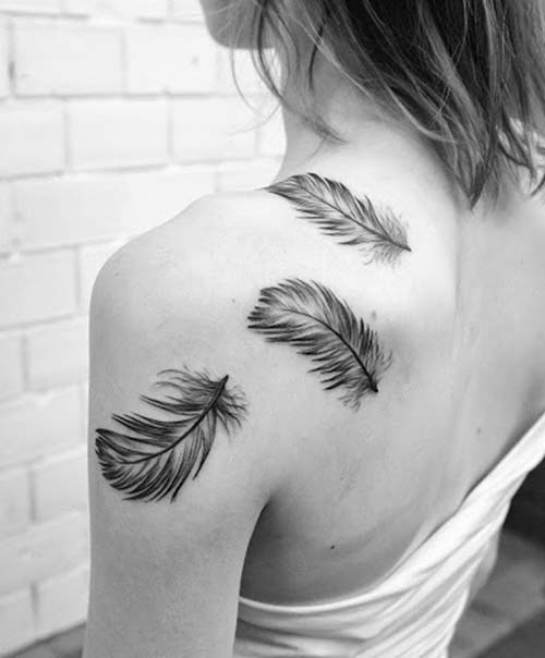 shoulder trio feather tattoo üçlü tüy dövmesi omuz
