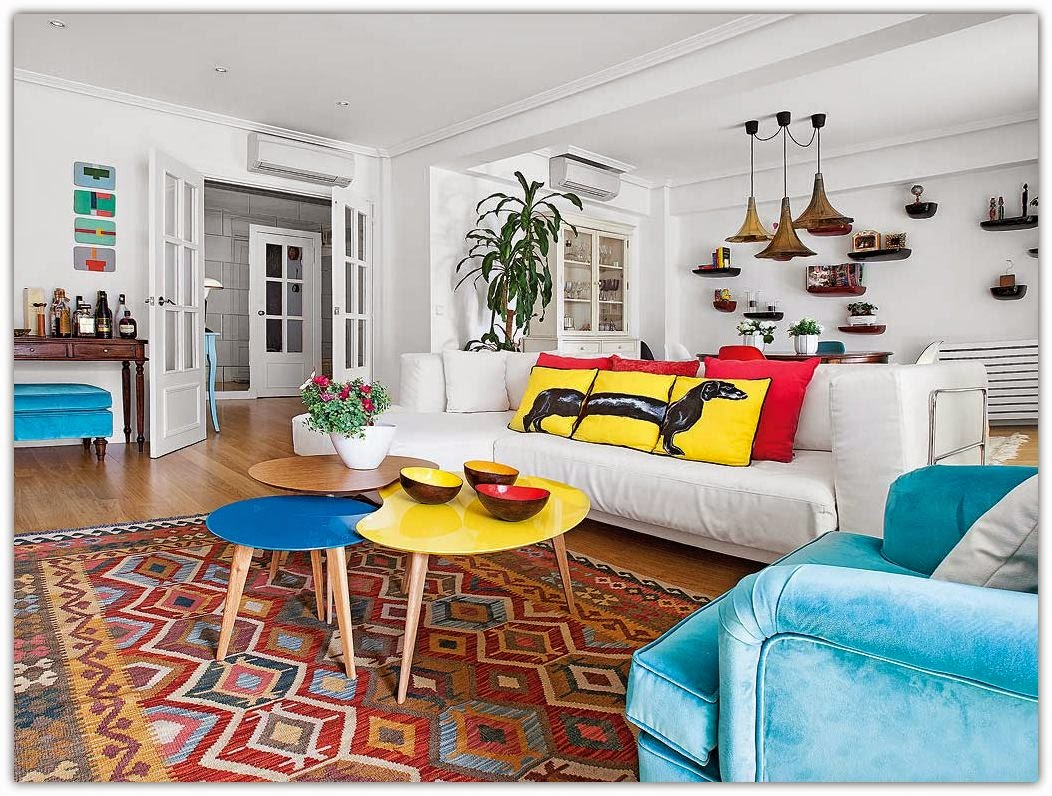 Art symphony cheerful and colorful apartment in spain - Tela para sofa ...