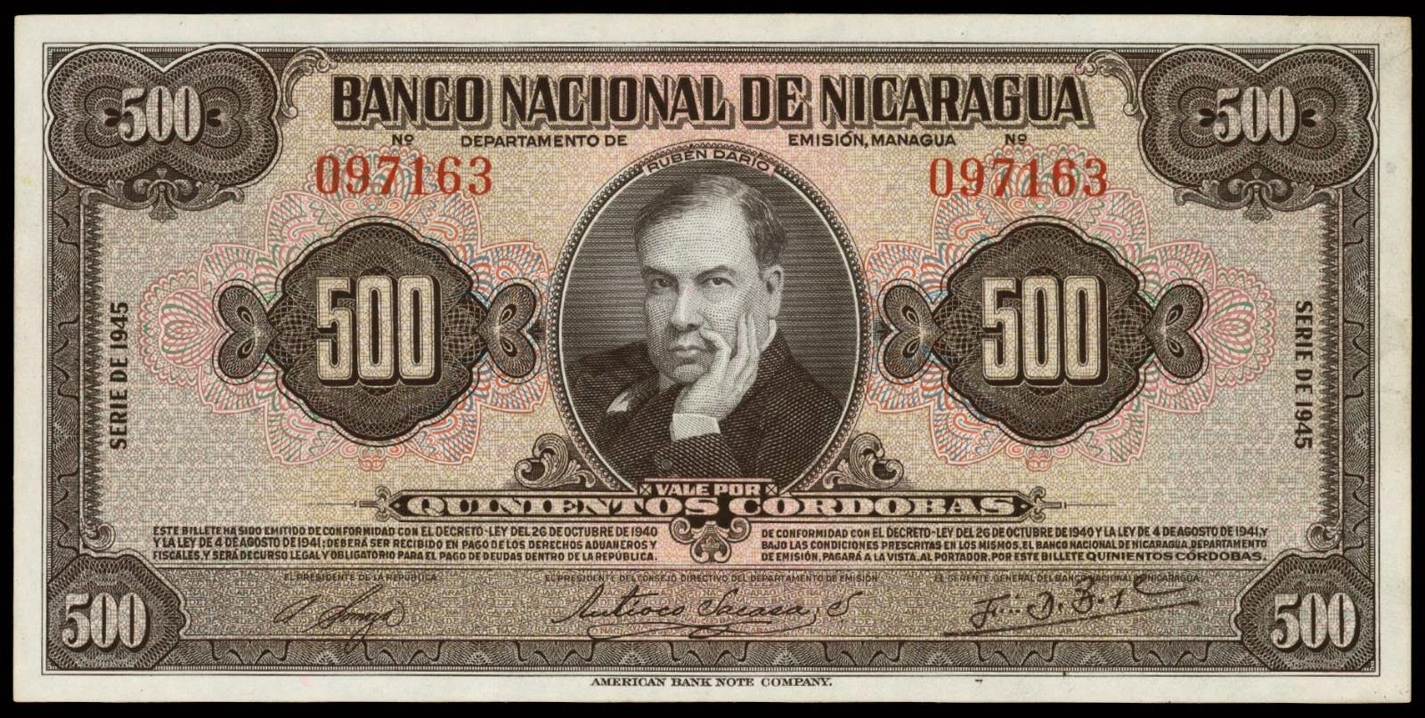 Nicaragua banknotes currency 500 Cordobas bank note 1945 Ruben Dario