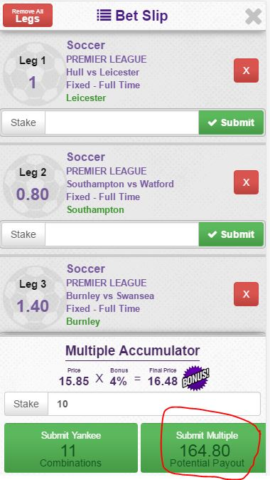 Step 10 - View Bet Slip and submit multiple - Quick Selection Soccer Betting - Hollywoodbets Mobile