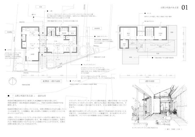 住宅密集地につくる通り庭のある二世帯住宅