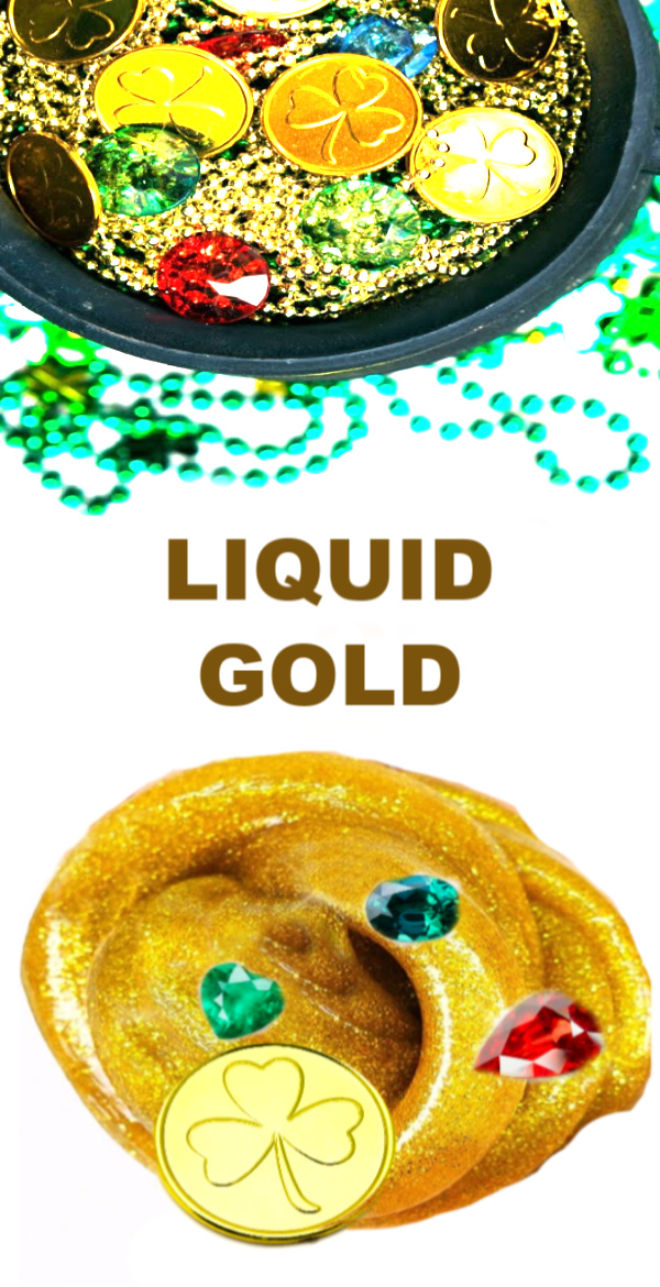 Take your next treasure hunt up a level and make liquid gold!  This easy recipe is sure to please slime lovers of all ages! #treasureslime #liquidgold #treasureslimerecipe #goldslime #goldslimerecipe ##slimerecipe #slimerecipeeasy #slimeforkids #growingajeweledrose #treasureslimerecipe