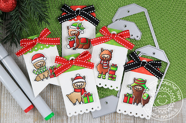 Christmas Gift Tags by Juliana Micheals featuring Sunny Studio Stamps Build A Tag No. 2 Dies, Alpaca Holiday Stamp Set, Cable Knit Embossing Folder and 6x6 Holiday Cheer Paper Pad